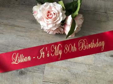 80th Birthday Sash Personalised